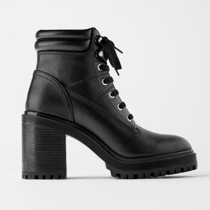 🤩 Zara   Leather Combat High Heel Ankle Boots 🤩